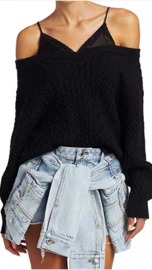 Alexander Wang Bi-Layer Satin Camisole V-Neck Cable Sweater