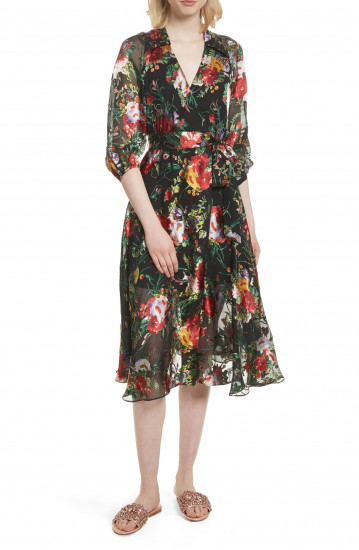 Alice + Olivia Abney V-Neck Floral Wrap Shirtdress
