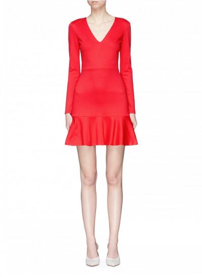 Alice + Olivia Francine V-Neck Fit & Flare Mini Dress