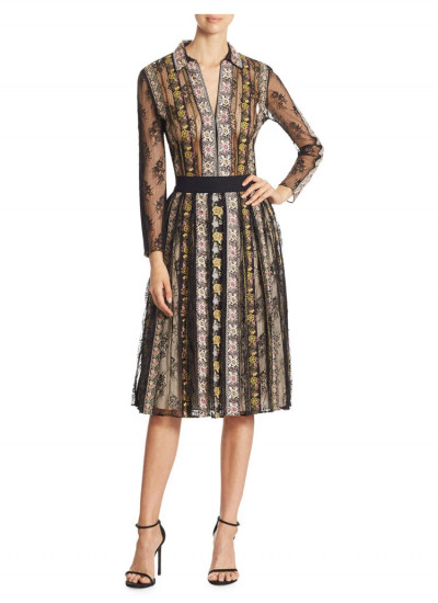 Alice + Olivia Birdie Embroidered Lace Skirt