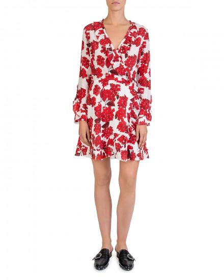 The Kooples Hortensia-Print Ruffled Silk Wrap Dress