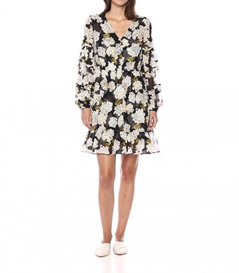 The Kooples Hydrangea Print V-Neck Mini Dress