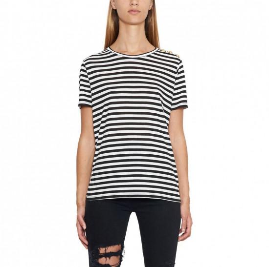 Balmain Button-Embellished Stripe Jersey T-shirt