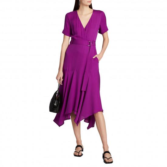 A.L.C. Claire Handkerchief Hem Silk Wrap Dress