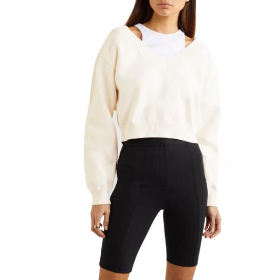 Alexanderwang.T Cropped Bi-layer V-Neck Sweater
