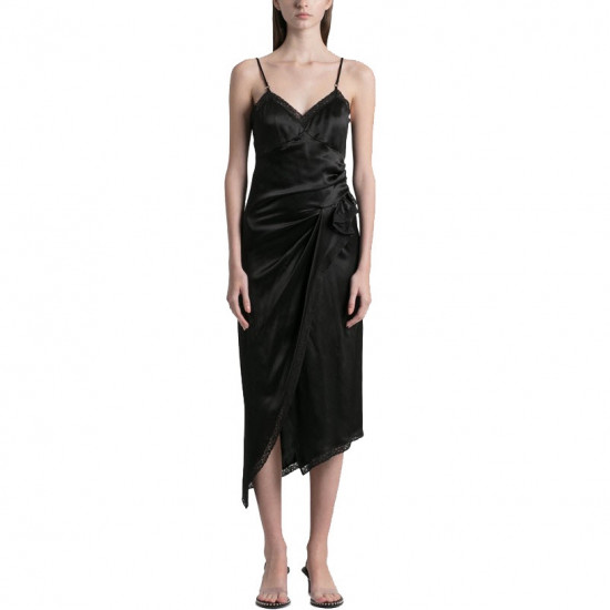 Alexanderwang.t Lace-Trim Draped Slip Dress