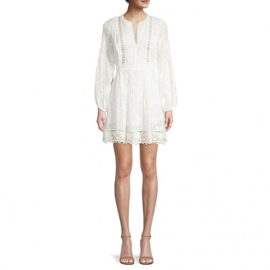 Alexis Artemis Tucked Silk-Cotton Lace Mini Dress