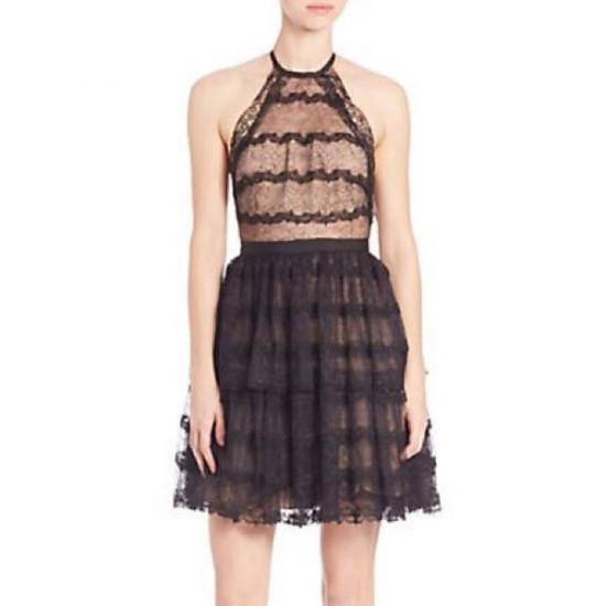 Alexis Coretta Ruffled Lace Halter Dress