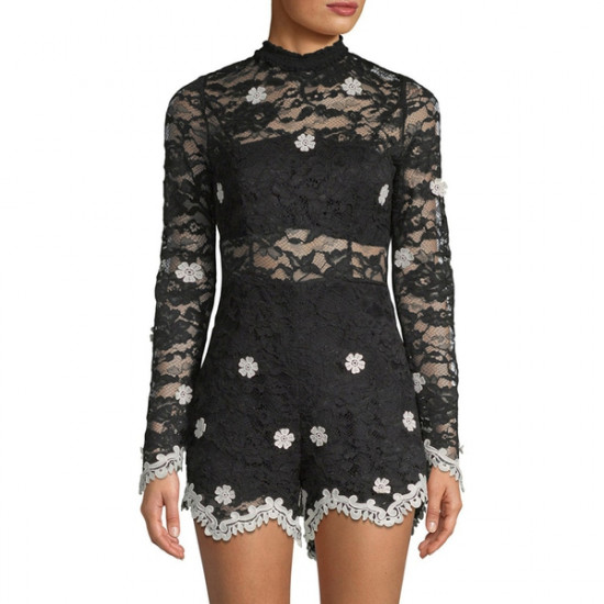 Alexis Floral Lace Embroidery Romper