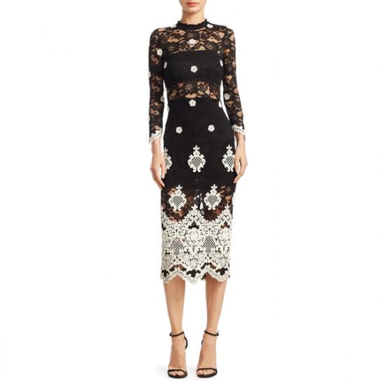 Alexis Helina Mockneck Lace Midi Dress