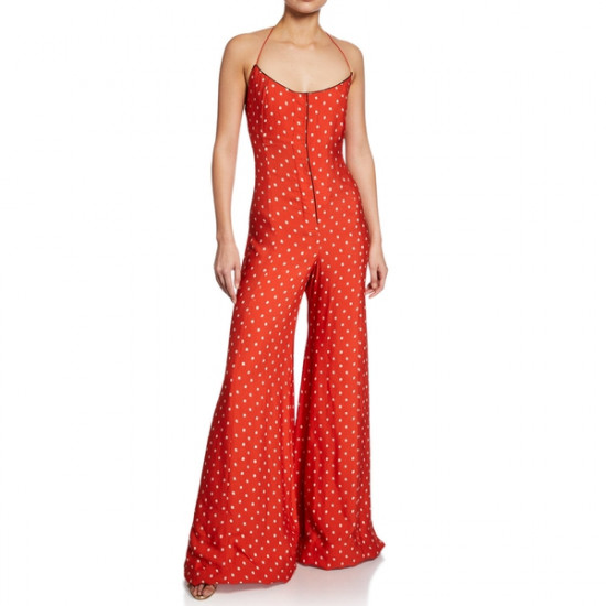 Alexis Holland Dot-Print Halter Wide-Leg Jumpsuit