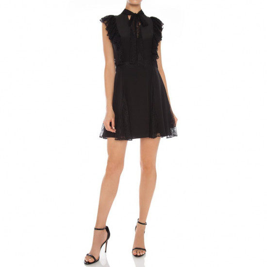 Alexis Joaquin Neck-Tie Ruffle Lace-Detail Mini Dress