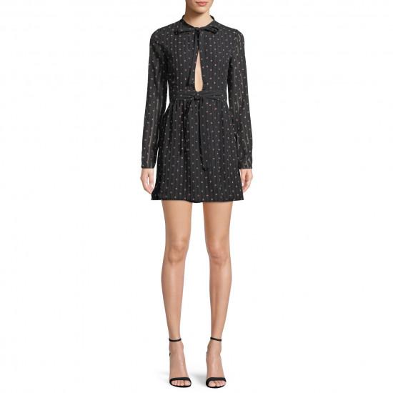 Alexis Leila Polka Dot Rio Print Tie Neck Mini Dress