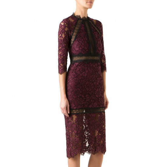 Alexis Marisa Half-Sleeve Lace Midi Dress