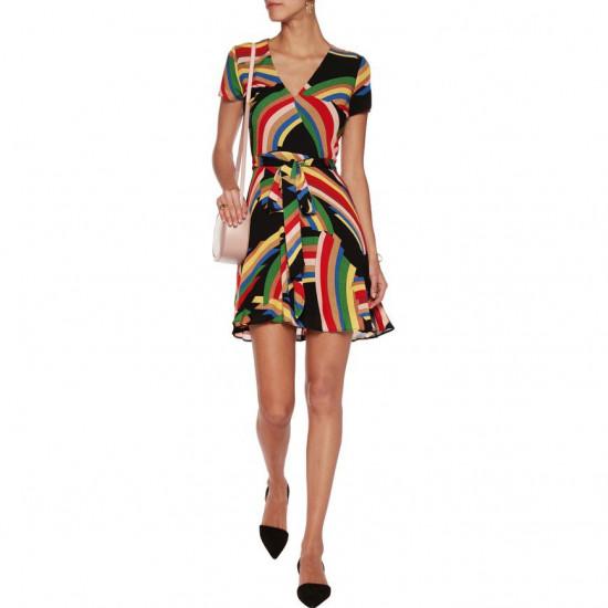 Alice + Olivia Adrianna Rainbow Print Wrap Mini Dress