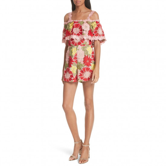 Alice + Olivia Anelle Off-the-Shoulder Lace Ruffle Romper