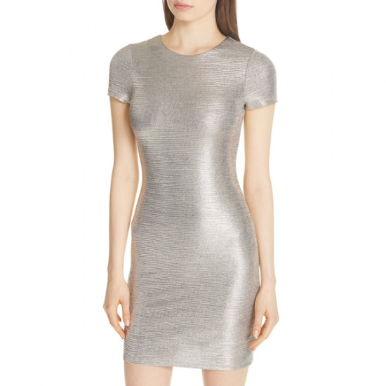 Alice + Olivia Delora Metallic Sheath Dress
