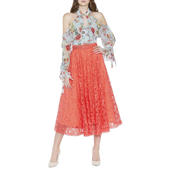 Alice + Olivia Earla Wildflower Print Midi Skirt