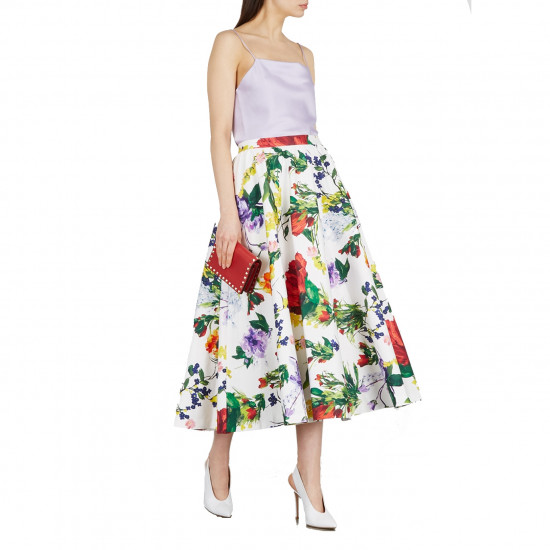 Alice + Olivia Earla High-Waist Flare Lace Midi Skirt