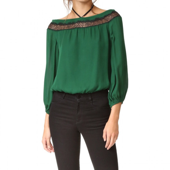 Alice + Olivia Esmeralda Off-the-Shoulder Neck-Tie Top