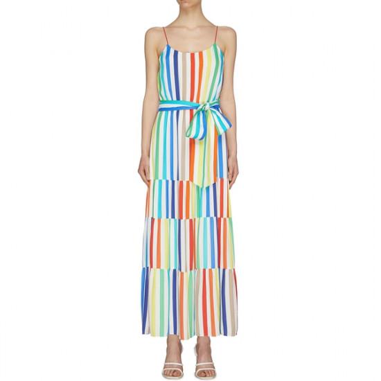 Alice + Olivia Janan Tiered Rainbow-Stripe Maxi Dress