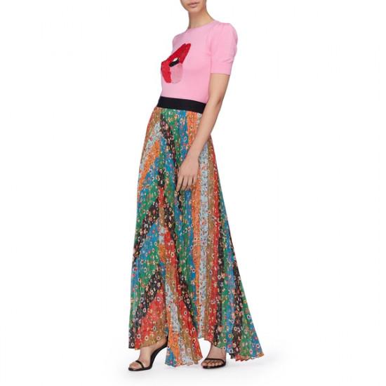 Alice + Olivia Katz Patchwork Floral Chevron Pleated Maxi Skirt
