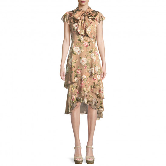 Alice + Olivia Lavenia Floral Tiered Ruffle Midi Dress