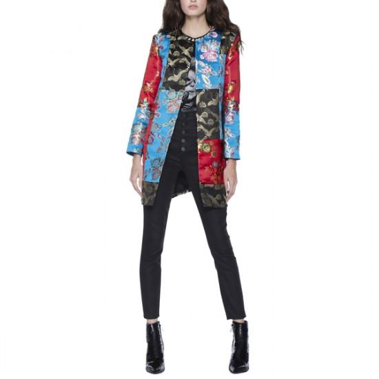 Alice + Olivia Logan Patchwork Collarless Coat