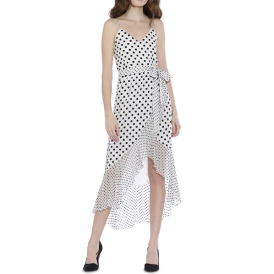 Alice + Olivia Mable Polka Dot Faux-Wrap Dress