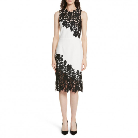 Alice + Olivia Margy Guipure Lace Fitted Dress