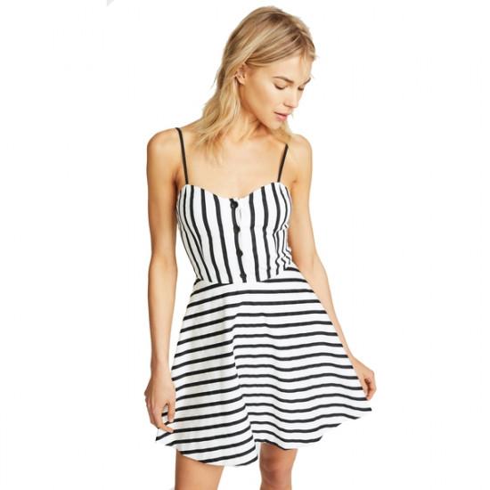 Alice + Olivia Nella Striped Button-Front Mini Dress