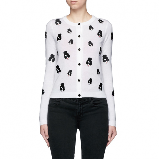 Alice + Olivia Stacey Emoji Embroidered Cardigan