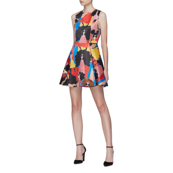 Alice + Olivia Stasia Stacey Print Pleated Dress