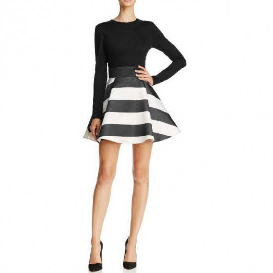 Alice + Olivia Stripe-Skirt Fit & Flare Mini Dress