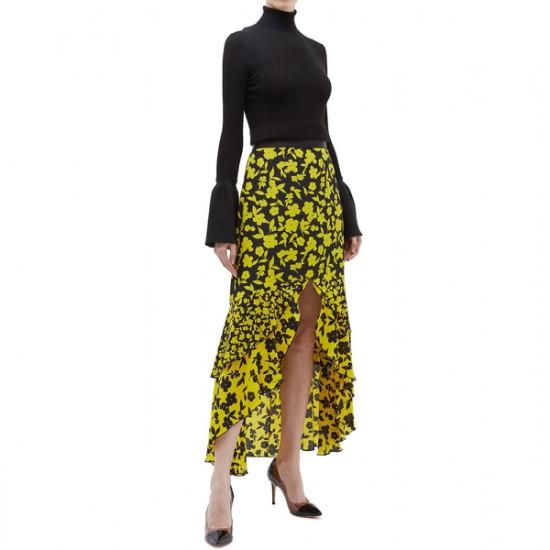 Alice + Olivia Sueann Asymmetric Tiered Ruffle Floral Silk Skirt