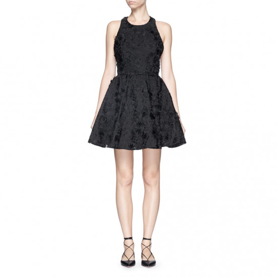 Alice + Olivia Tevin Floral Appliqué Dress