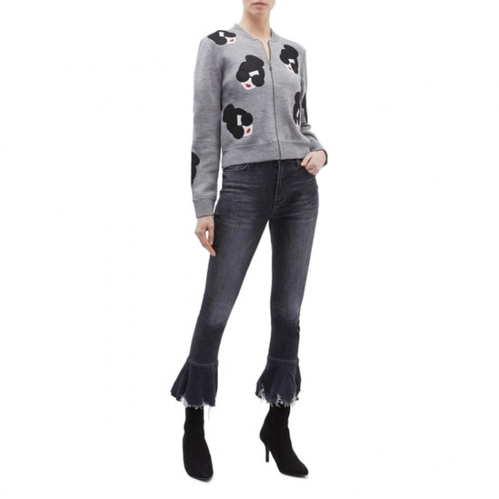 Alice + Olivia Theron Stace Face Zip Front Cardigan