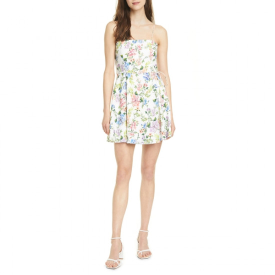 Alice + Olivia Trixie Floral-Print Sleeveless Mini Dress