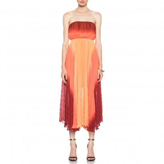 Alice + Olivia Uma Ombré Strapless Chevron-Pleated Dress