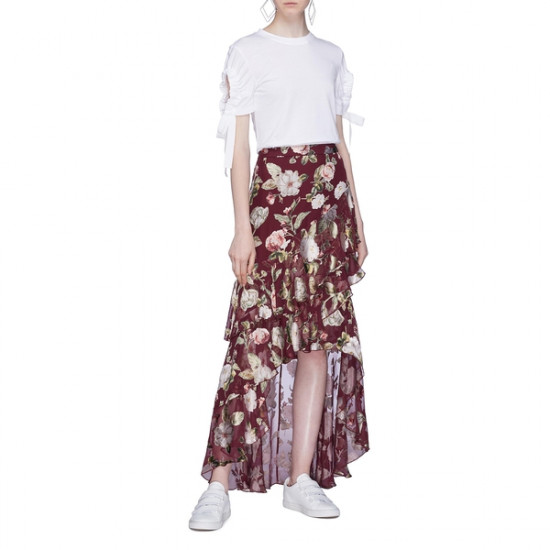Alice + Olivia Walker Asymmetric Tiered Floral Print Fil Coupé Skirt