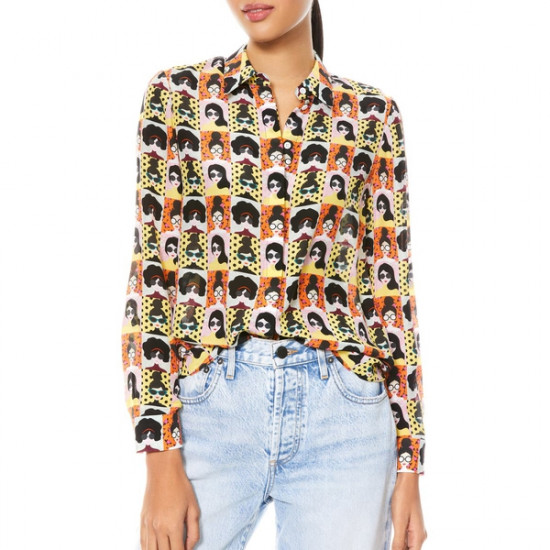Alice + Olivia Willa Stace Face Silk Placket Top
