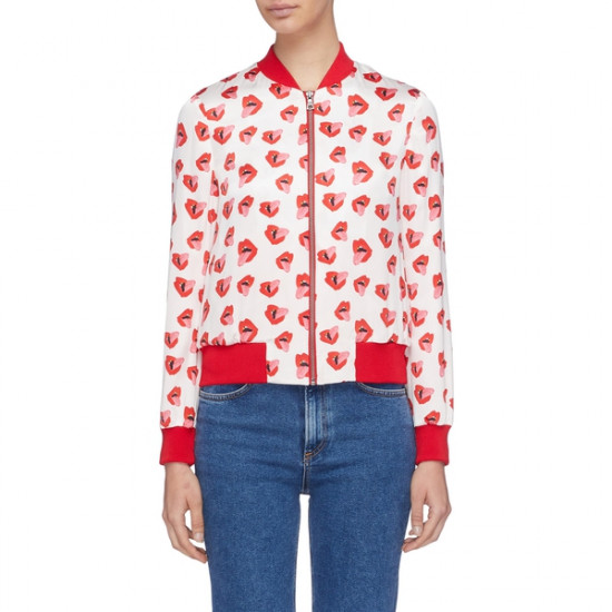 Alice + Olivia X Donald Robertson Lonnie Printed Silk Bomber Jacket