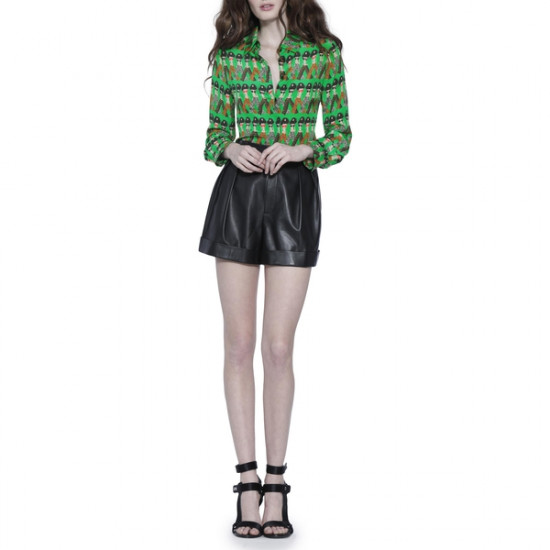 Alice + Olivia X Donald Robertson Willa Crazy Pants Printed Silk Blouse