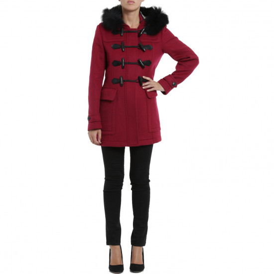Burberry Brit Fur-Trim Duffle Coat