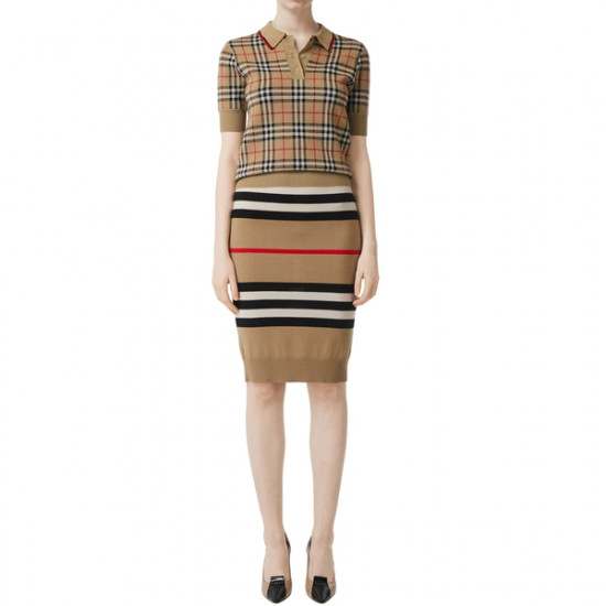 Burberry Chatterton Archive Check Merino Wool Polo Sweater