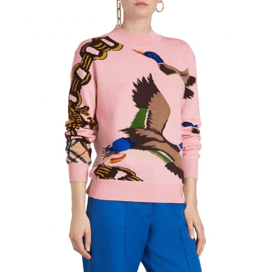 Burberry Duck Intarsia Mockneck Sweater