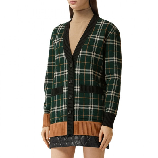 Burberry Glainsnock Check Technical Merino Wool Jacquard Cardigan