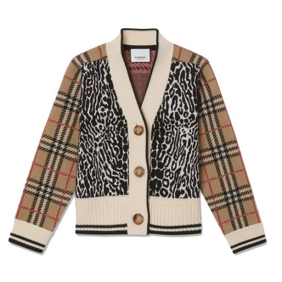 Burberry Kids Check & Leopard Merino Wool Jacquard Cardigan