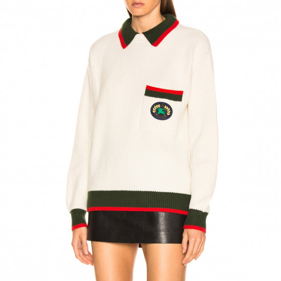 Burberry Olivine Contrast Stripe Collar Crest Sweater