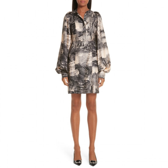 Burberry Pascala Dreamscape Print Silk Shirtdress